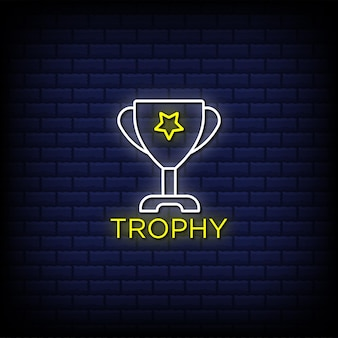 Champion trophy neon signs style text design