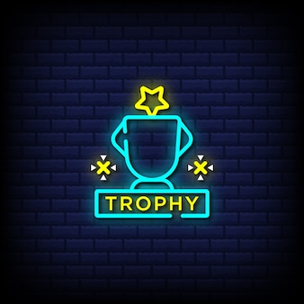 Champion trophy neon signs style text