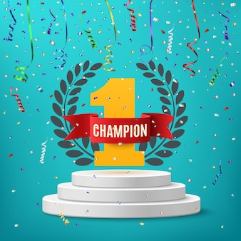 Champion, winner, number one with red ribbon, laurel wreath and confetti on round pedestal isolated