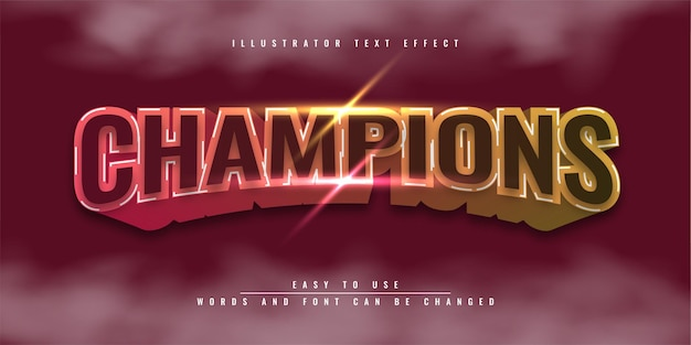 Champions colorful editable 3d text effect illustration template design