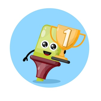Champions cup highlighter mascot character logo