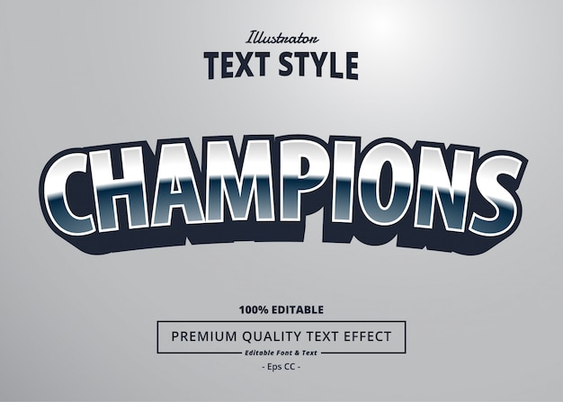 Champions text effect Premium Vector