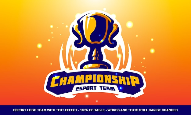 Логотип чемпионата esport и маскота с текстовым эффектом