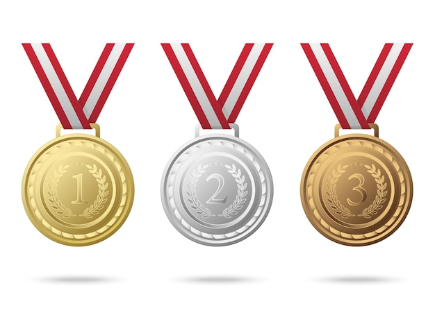 Championship medals from numbers one to three
