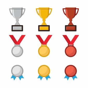 Championship trophy, champion medal icon
