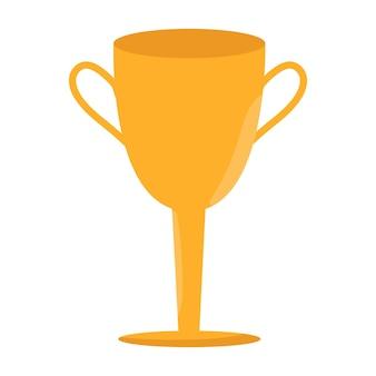 チャンピオンシップの勝者のシンボル。勝者カップアイコン。トロフィーボタン。白い背景で隔離のベクトルフラットイラスト