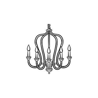 Chandelier hand drawn outline doodle icon. vector sketch illustration of chandelier for print, web, mobile and infographics isolated on white background.