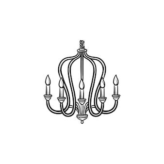 Люстра рисованной наброски каракули значок. векторная иллюстрация эскиз люстры для печати, интернета, мобильных устройств и инфографики, изолированные на белом фоне.