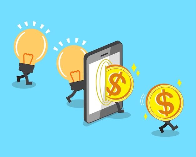スマートフォンで電球のアイデアをお金に変える