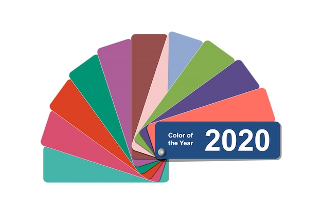 Change color of the year to 2020, classic blue trend colour palette sample swatch book guide