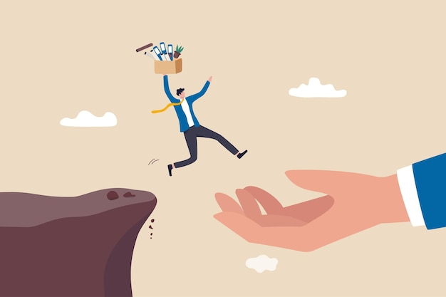 Change job or leaving company for new career opportunity, ambition and decision to change employer concept, brave confident businessman carrying stuffs escape jumping from cliff to helping giant hand.