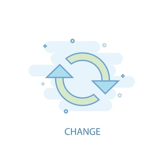 Change line concept. simple line icon, colored illustration. change symbol flat design. can be used for ui/ux