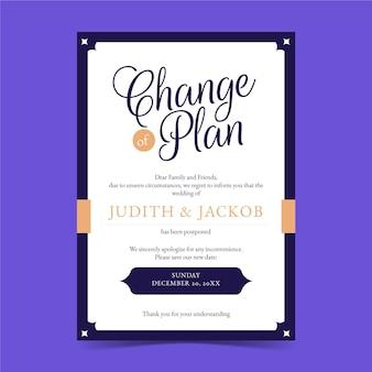 Change plan typographic postponed wedding card