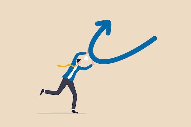 변경, 변환 또는 전환, 아래에서 위로 반대 방향으로 전환, 문제 또는 비즈니스 개선 개념에 대한 솔루션, 자신감 있는 사업가가 아래쪽 화살표 변경을 위쪽 방향으로 푸시합니다.