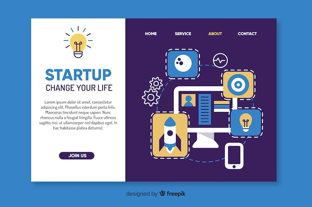 Change your life startup landing page