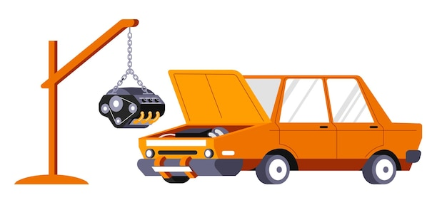 車のエンジンまたはモーターの交換、孤立した自動車修理サービス。車両のメンテナンスのための整備士の店または店。輸送のエンジニアリングと専門的なケア。フラットスタイルのベクトル