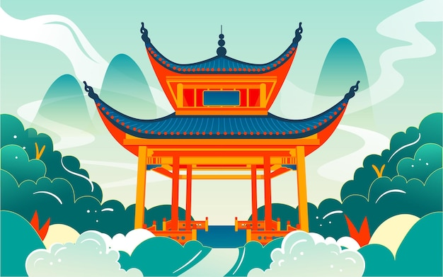 Changsha landmark love evening pavilion illustration of ancient chinese architectural attractions