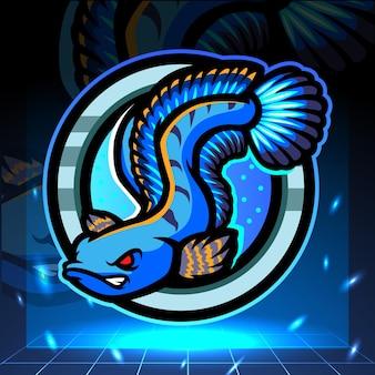 チャンナの魚のマスコット。 eスポーツロゴデザイン