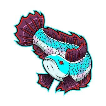 Channa 물고기 마스코트 로고 디자인