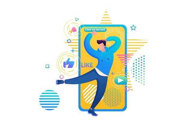 Канал о танцах молодого парня, тектонике, фристайле, r&b. веб-дизайн для обучения танцам. подпишитесь и научитесь танцевать. я научу тебя танцевать.