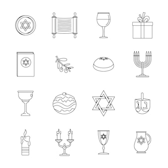 Chanukah jewish holiday icons set
