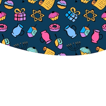 Chanukah. a set of traditional attributes of the menorah, dreidel, oil, torah, donut. greeting card in doodle style.