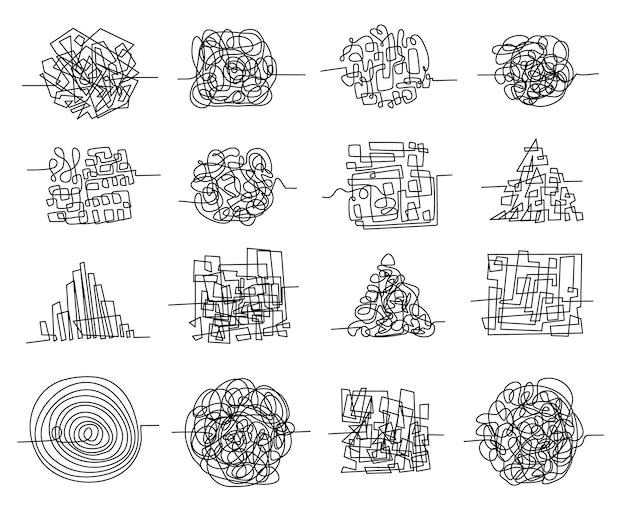 혼돈의 선 낙서와 무작위로 얽힌 미로 모양. 지저분한 생각, 복잡한 문제 및 혼란스러운 마음 벡터 세트의 펜 낙서 개념. 흰색 절연 혼란 또는 장애 요소