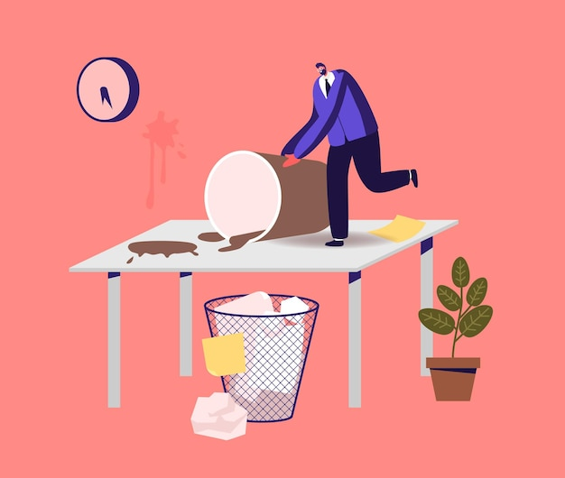 Chaos, mess and disorder at workplace illustration
