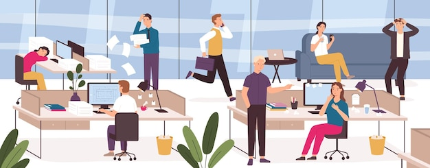 Chaos in office. work place with stressed, lazy, sleeping or panicing workers and angry boss. business problem at deadline vector concept. open space with mama and woman in hurry or rush