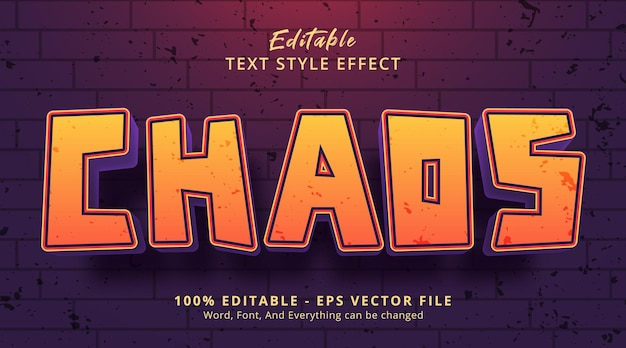 Chaos text on headline event style, editable text effect