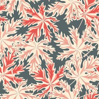 회색 바탕에 혼란 메이플 리프 완벽 한 패턴입니다. 다채로운 잎 빈티지 끝 없는 벽지. 포장지, 섬유 인쇄, 표면 패브릭, 커버 디자인. 벡터 일러스트 레이 션