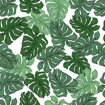 Chaotic monstera leaf seamless pattern on white background