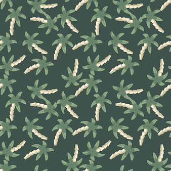 녹색 배경에 혼란 야자수 완벽 한 패턴입니다. 심플한 열대 벽지. 직물 디자인, 직물 인쇄, 포장, 덮개를 위한 장식적인 배경. 벡터 일러스트 레이 션
