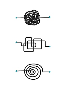 Chaotic process line doodle sketch vector isolated on white backround