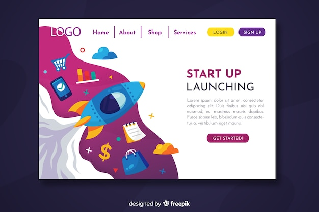 Chaotic start up landing page with different objects