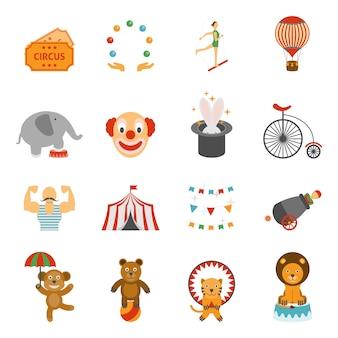 Chapito circus icons set flat