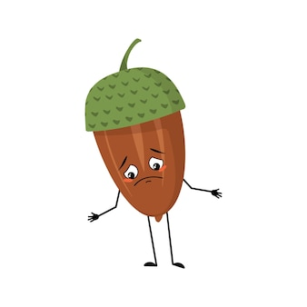 Character acorn with sad emotions, depressed face, down eyes, arms and legs. melancholy forest plant, autumn nut