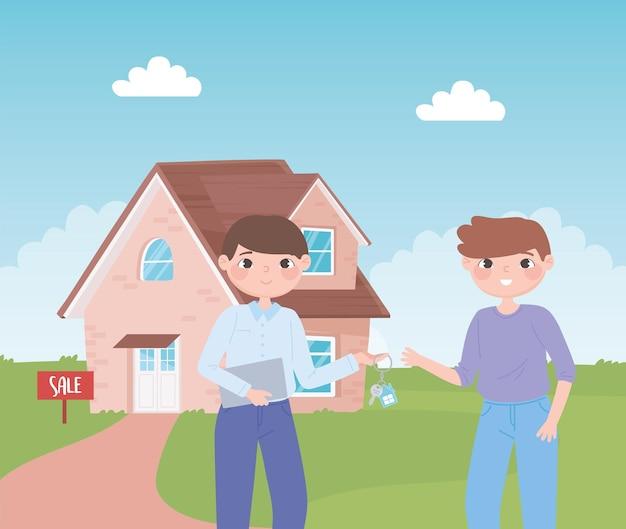 행복 한 젊은 남자 소유자 새 집으로 키를 들고 문자 에이전트