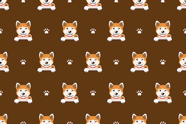 Character akita inu dog seamless pattern background