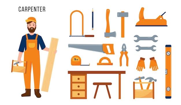 Персонаж и набор инструментов плотников, изолированные на белом