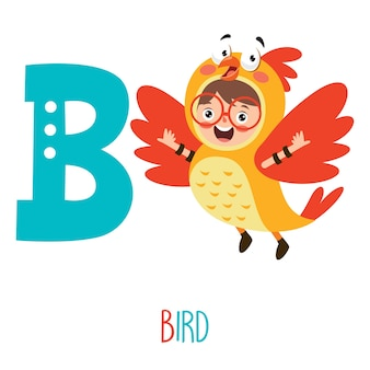 Character in animal costume showing alphabet letter