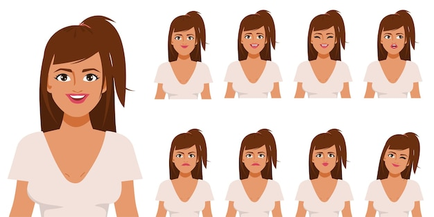 Character for animation mouth and face beautiful woman