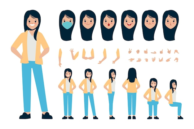 Character for animation mouth and face cute young businesswoman