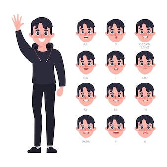 Character for animation mouth of man in hood clothing