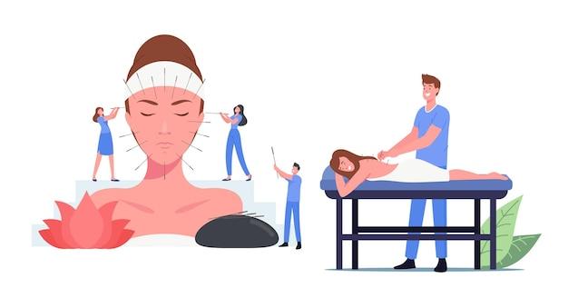 鍼治療の概念を適用する文字。ボディインジェクションポイントを備えた代替医療フォーム。病気の予防のための中国の伝統医学。漫画の人々のベクトル図