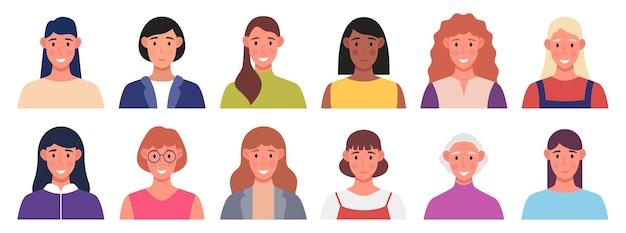 キャラクターアバターセット。女性は笑っています。プロファイルデザインのための多文化の人。ベクトルイラスト。