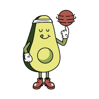 Character avocado playing ball graphic illustration