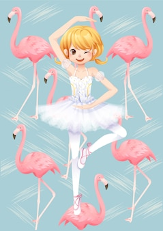 Character of ballet dancer girl and flamingo