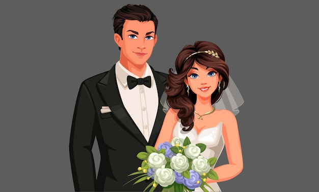 Character of beautiful wedding couple holding a  bouquet