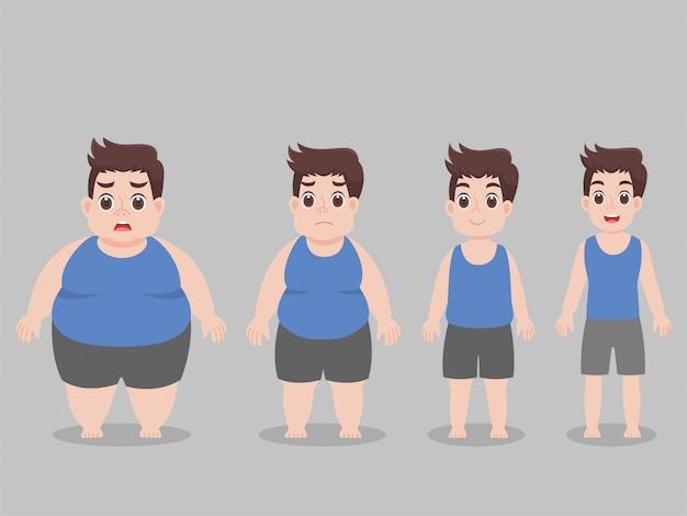 체중 감량을위한 캐릭터 큰 뚱뚱한 남자